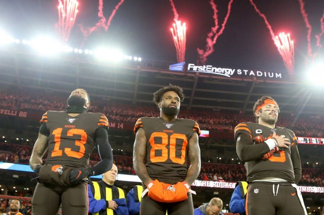 Cleveland Browns wide receivers Odell Beckham Jr. (13) and Jarvis Landry (80) should both be in fantasy football lineups this week as they take on the Miami Dolphins Sunday in Cleveland. Photo by Aaron Josefczyk/UPI