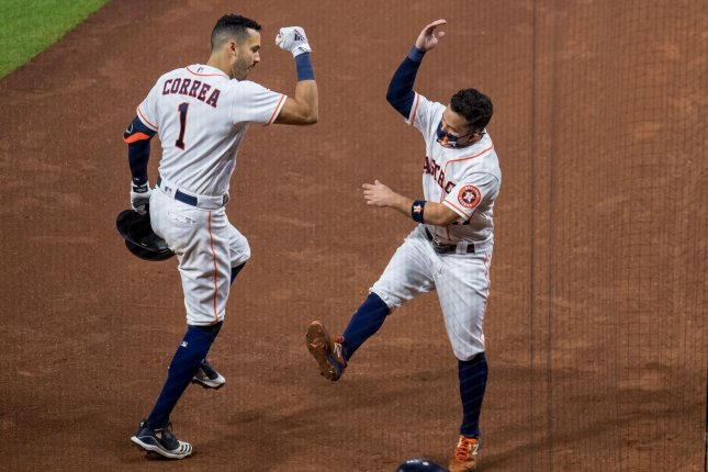 Houston Astros shortstop Carlos Correa (L) drove in five runs for the Astros during Thursday's Game 4 win over the Oakland Athletics. File Photo by Trask Smith/UPI