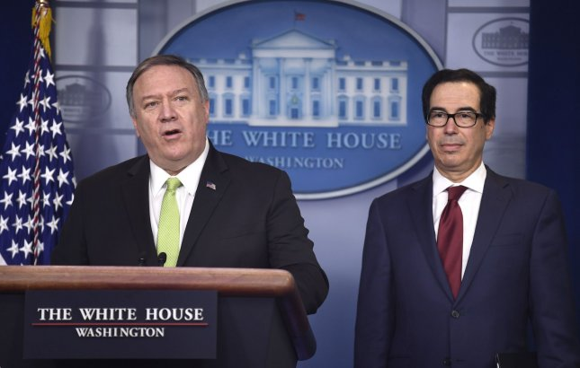 Secretary of State Mike Pompeo (L) and Treasury Secretary Steven Mnuchin imposed fresh sanctions against Iran on Thursday. Photo by Mike Theiler/UPI