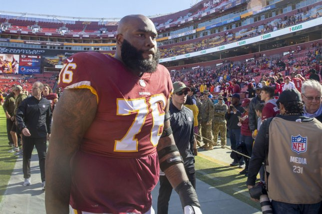 Former Washington Football Team offensive tackle Morgan Moses (76), shown Nov. 4, 2018, had two years remaining on his contract with the team. File Photo by Tasos Katopodis/UPI
