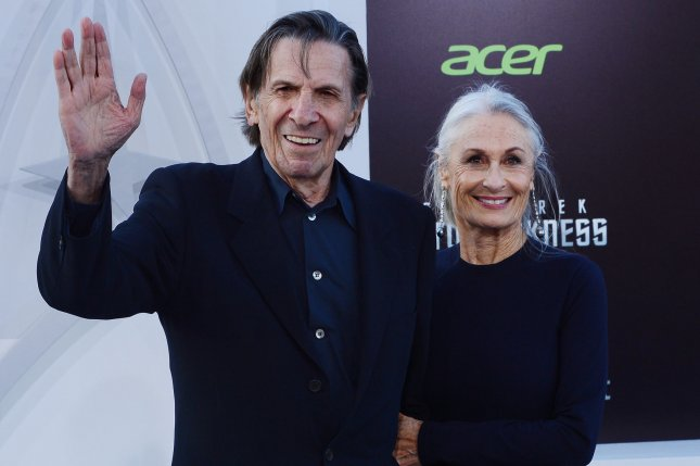 Leonard Nimoy, a cast member in the sci-fi motion picture Star Trek Into Darkness, attends the premiere of the film with his wife Susan Bay in Los Angeles on May 14, 2013. File Photo by Jim Ruymen/UPI