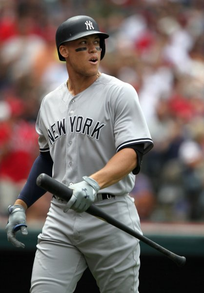 Aaron Judge failed to gain ground in the AL postseason race after losing to the Tampa Bay Rays on Thursday. Photo by Aaron Josefczyk/UPI