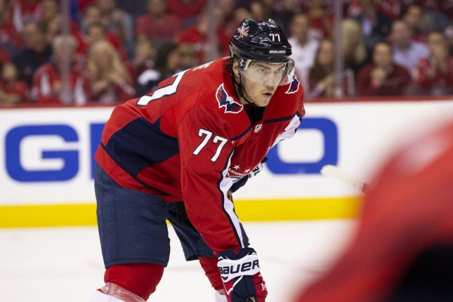 Washington Capitals right wing T.J. Oshie (77) waits for a face-off during the second round NHL playoff game between the Pittsburgh Penguins and Washington Capitals on April 26 at Capital One Arena in Washington, D.C. File Photo by Alex Edelman/UPI