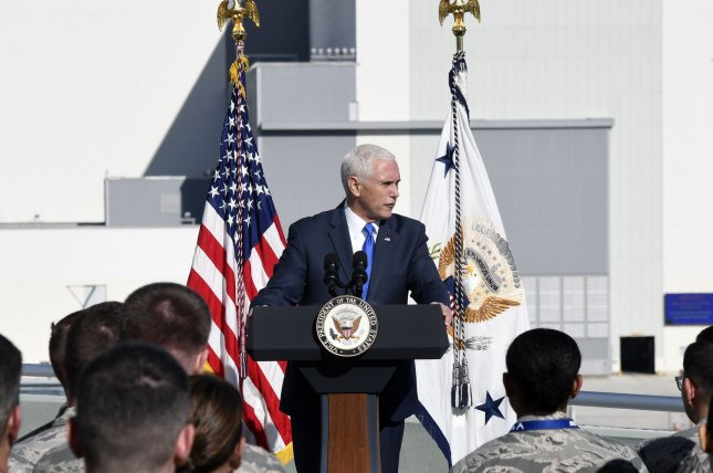 Vice President Mike Pence provides comments to the media and the military at the Kennedy Space Center, Fla. on Tuesday. Photo by Joe Marino-Bill Cantrell/UPI