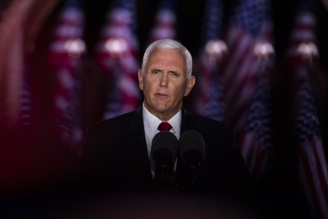Vice President Mike Pence accepts the Republican nomination for re-election on the third night of the Republican National Convention from Fort McHenry in Baltimore on Wednesday. Photo by Kevin Dietsch/UPI