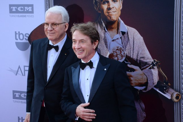 Martin Short (R) and Steve Martin discussed late SNL alum Norm Macdonald on The Tonight Show. File Photo by Jim Ruymen/UPI