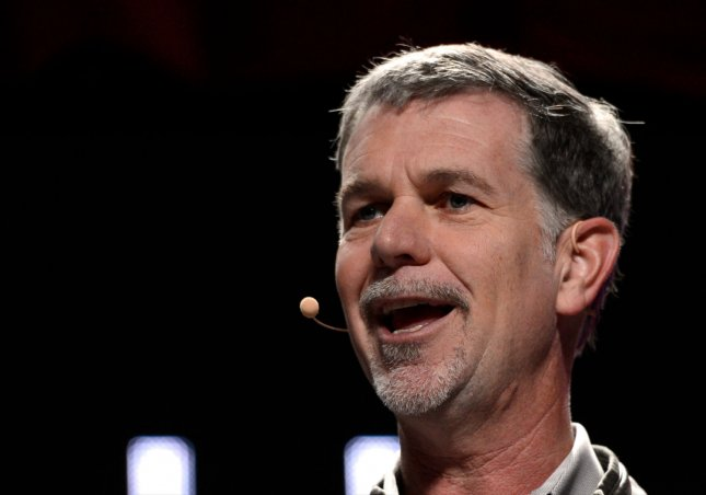 Reed Hastings, CEO of Netflix, speaks during an LG press conference prior to the 2014 International CES, a trade show of consumer electronics, at Mandalay Bay in Las Vegas, Nev., on Jan., 6, 2014. Netflix, the widely popular Internet video service, will expand into Italy, Portugal and Spain in October, the company said Saturday. File Photo by UPI/Molly Riley