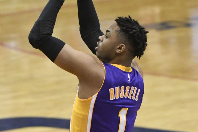 Former Los Angeles Lakers guard D'Angelo Russell (1) scores in the first half against the Washington Wizards at the Verizon Center in Washington, D.C. on February 2, 2017. File photo by Mark Goldman/UPI