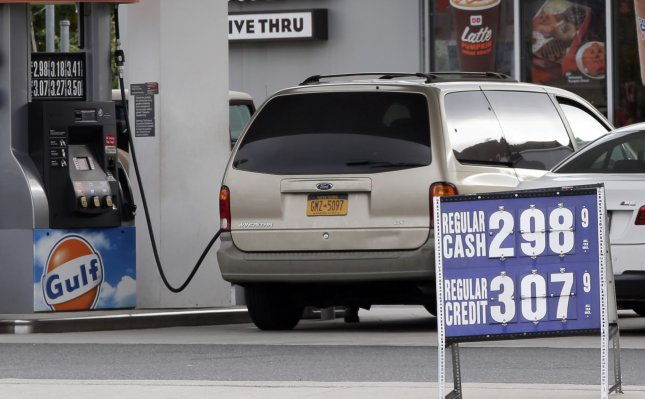 Higher demand for crude oil means the cost of gas is on the rise, according to market analyses. File photo by John Angelillo/UPI