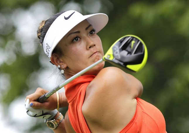 Michelle Wie has the early lead at the Women's British Open. Photo by John Angelillo/UPI