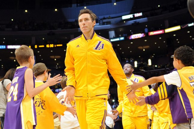 Former Los Angeles Lakers guard Steve Nash takes to the court to play the Dallas Mavericks in an NBA basketball game in Los Angeles on October 30, 2012. File photo by Lori Shepler/UPI