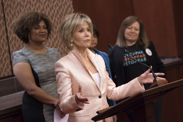 Jane Fonda, actress and activist, speaks at a news conference on women's rights at work and helping to protect domestic and farmworkers against sexual harassment and discrimination, on Capitol Hill in Washington, D.C., on Thursday. Photo by Kevin Dietsch/UPI