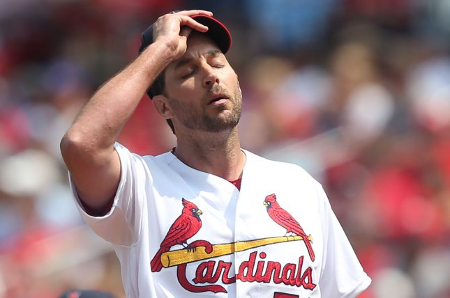 St. Louis Cardinals starting pitcher Adam Wainwright is now 5-5 on the season with a 4.34 ERA after beating the Chicago Cubs on Sunday in St. Louis. Photo by Bill Greenblatt/UPI