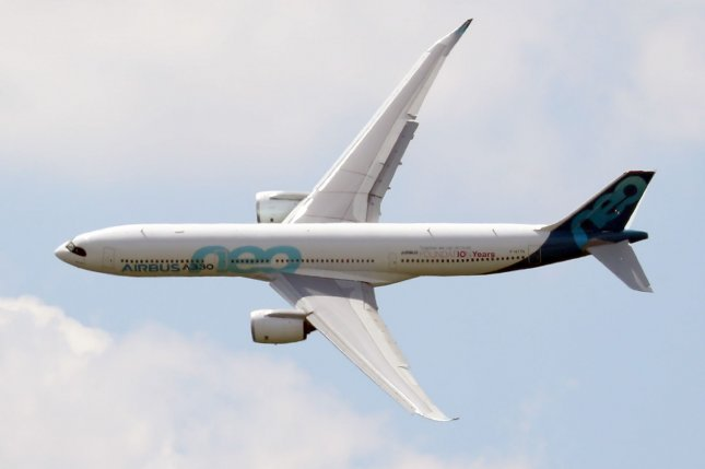 An Airbus A330neo performs a demonstration flight on the opening day of the 53rd International Paris Air Show. Saudi Arabian airline flyadeal announced Sunday that it will operate an all-Airbus fleet. File Photo by Eco Clement/UPI