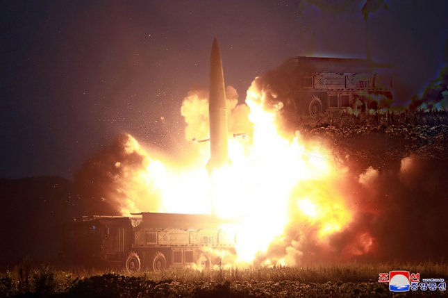 North Korea has conducted multiple short-range missile tests since July, as seen in this image released August 7. File Photo by KCNA/UPI
