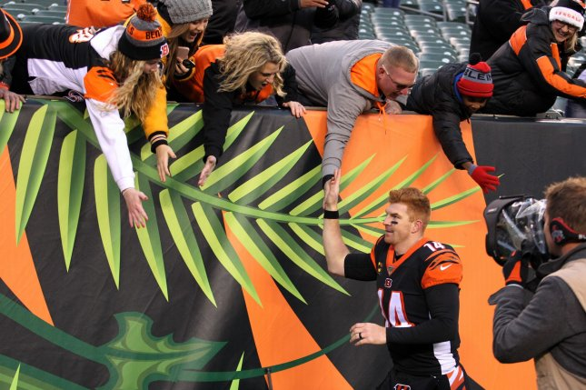 Cincinnati Bengals veteran Andy Dalton has a 69-61-2 record as a starting quarterback since entering the NFL in 2011. Photo by John Sommers II/UPI
