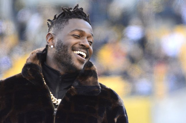 Former Pittsburgh Steelers and New England Patriots wide receiver Antonio Brown has recorded 841 receptions for 11,263 yards and 75 touchdowns in his NFL career. File Photo by Archie Carpenter/UPI