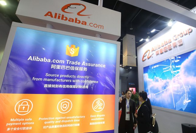 Alibaba's sign is shown at an e-commerce expo. File Photo by Stephen Shaver/UPI