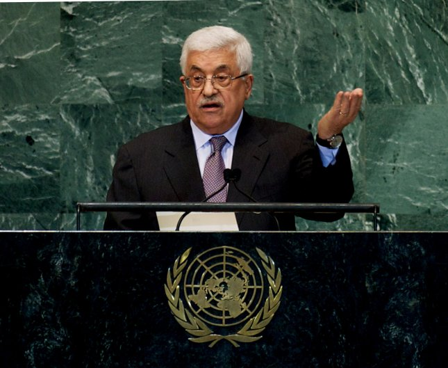 Mahmoud Abbas, chairman of the Palestinian Liberation Organization and president of the Palestinian Authority, addresses the 67th session of the General Assembly at the United Nations in New York, Sept. 27, 2012. UPI/Monika Graff
