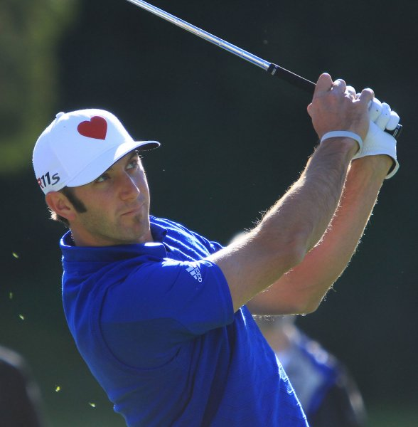 Dustin Johnson hits a shot during the first day of play at the Northern Trust Open at the Riviera Country Club in the Pacific Palisades area of Los Angeles on February 16, 2012. UPI/ David Silpa