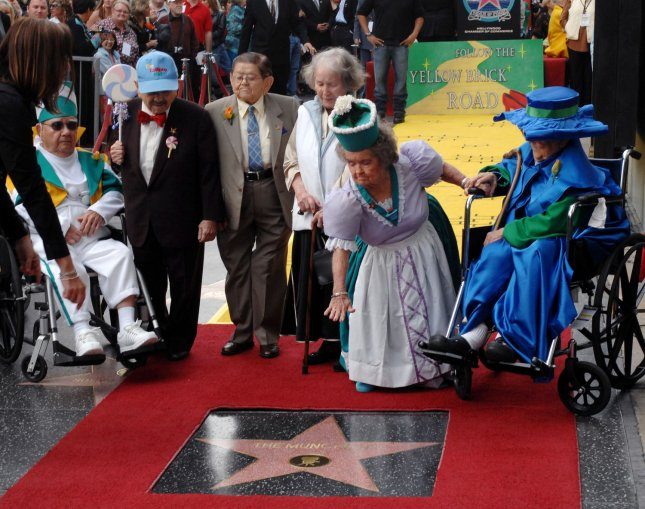 Honorary Mayor of Hollywood, Johnny Grant, center with black hat, honors The Munchkins from The Wizard of Oz as they receive a star on the Hollywood Walk of Fame in Los Angeles on November 20, 2007. The Munchkins from left: Clarence Swensen, a Munchkin soldier, Jerry Maren, part of the Lollipop Guild; Karl Slover, the Main Trumpeter; Ruth Duccini, a Munchkin villager; Margaret Pelligrini, the 'sleepyhead' Munchkin and Meinhardt Raabe, the coroner. Back row from left: Ted Bulthaup, star sponsor and owner of a Trip to the Movies Theatre in Chicago, Hollywood Chamber Chairman Jeff Briggs, Los Angeles City Council President Eric Garcetti, Johnny Grant, Tom LaBonge, Los Angeles Councilman, and Leron Gubler, Chamber President & CEO. (UPI Photo/Jim Ruymen).