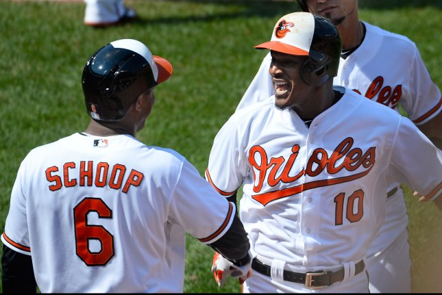 Baltimore Orioles' Adam Jones (10). Photo by David Tulis/UPI