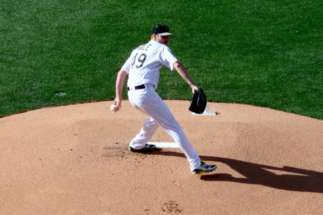 American League All-Star pitcher Chris Sale, of the Chicago White Sox throws the first pitch during the first inning of the 87th MLB All-Star Game against the National League at Petco Park in San Diego, California on July 12, 2016. The American League defeated the National League 4-2. Photo by Howard Shen/UPI