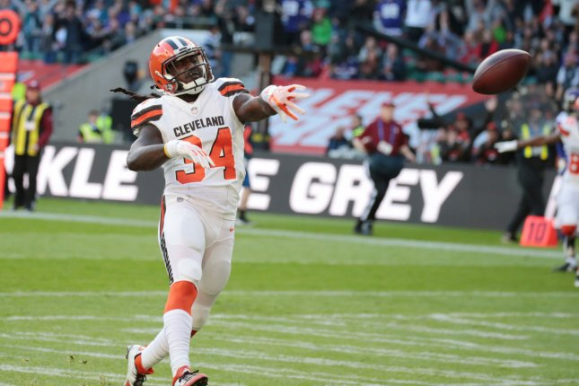 Cleveland Browns running back Isaiah Crowell. The Browns are 0-13 this season after Sunday's loss to the Green Bay Packers. Photo by Hugo Philpott/UPI