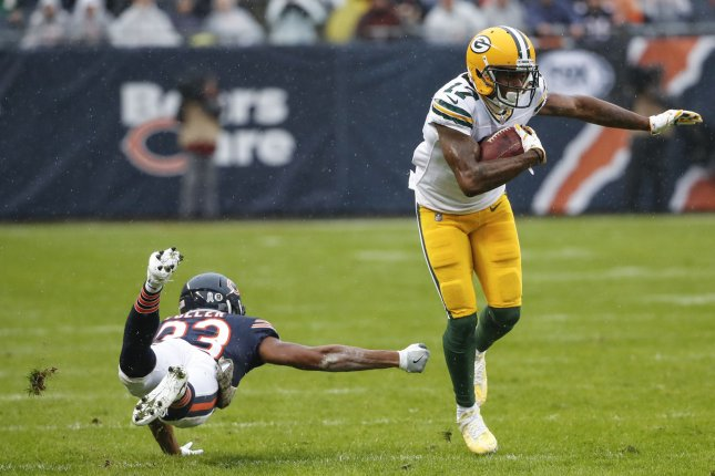 00e38493 Green Bay Packers wide receiver Davante Adams (17) runs away from Chicago  Bears cornerback Kyle Fuller (23) during the first half on November 12 at  Soldier ...