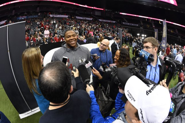Alabama Crimson Tide defensive lineman Da'Ron Payne is interviewed during Media Day for the NCAA football championship game on January 6, 2018 in Atlanta. Photo by David Tulis/UPI