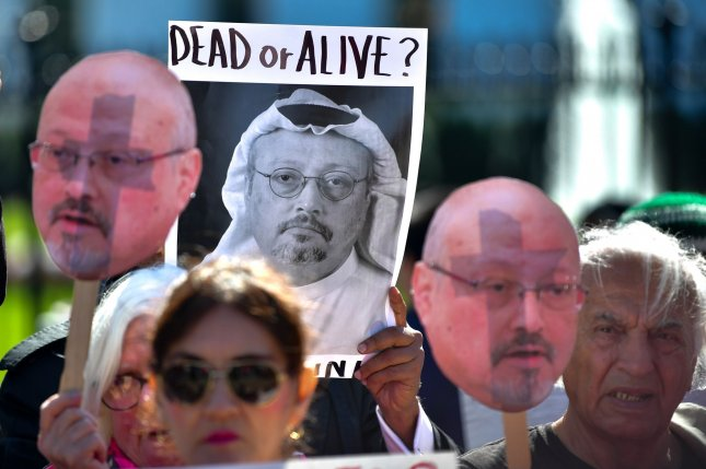 Protesters with the activist group Code Pink demonstrate outside the White House to call attention to the disappearance of Saudi Arabian journalist Jamal Khashoggi, in Washington, D.C. on October 19, 2018. Khashoggi has disappeared following a meeting at the Saudi consulate in Istanbul. Photo by Kevin Dietsch/UPI