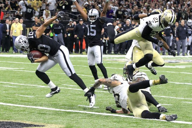 Former Oakland Raiders wide receiver Seth Roberts (10) signed a one-year deal with the Baltimore Ravens one day after the Raiders released him. File Photo by AJ Sisco/UPI