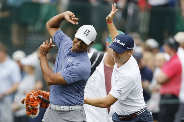 World No. 6 Tiger Woods (L) and No. 4 Justin Thomas (R) will be the first pairing to tee off for the Americans at the 2019 Presidents Cup Thursday in Melbourne, Australia. Photo by John Angelillo/UPI