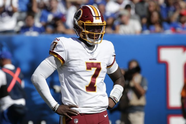 Washington Redskins quarterback Dwayne Haskins Jr. will be featured in the team's virtual draft party later this month. File Photo by John Angelillo/UPI