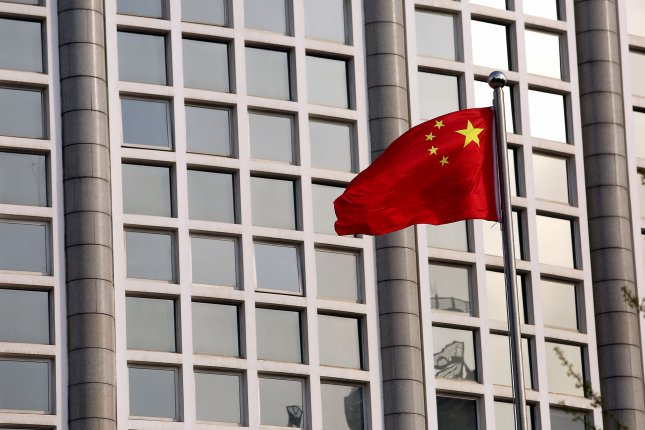 The Chinese national flag flies at the foreign affairs ministry in Beijing, China, on April 6. File Photo by Stephen Shaver/UPI