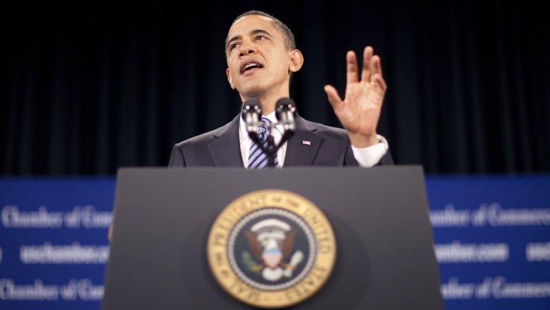 U.S. President Barack Obama speaks at the U.S. Chamber of Commerce in Washington in February 2011. UPI/Andrew Harrer/Pool