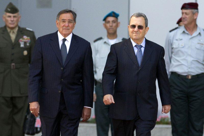 Israeli Minister of Defense Ehud Barak (R) and U.S. Defense Secretary Leon Panetta, pictured Oct. 3, 2011, in Tel Aviv, Israel. UPI/Jack Guez/Pool