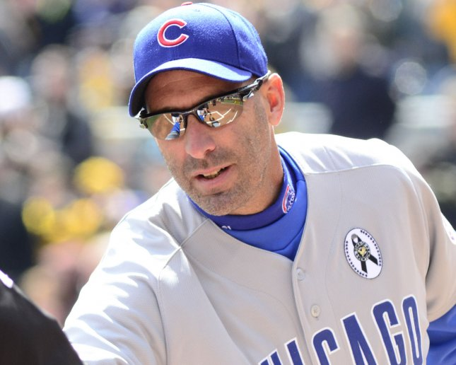 Dale Sveum, shown prior to a game April 1, was fired Monday as manager of the Chicago Cubs. UPI/Archie Carpenter