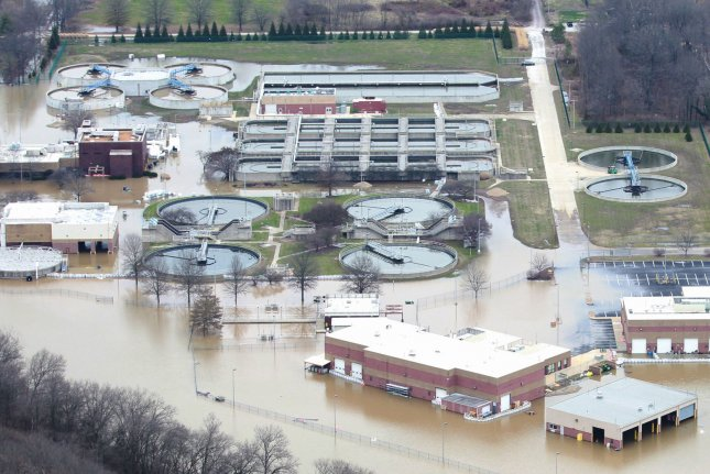 New research suggests water could become unaffordable to 36 percent of U.S. households in the next five years. Pictured, heavy rains flooded a water treatment plant in Missouri in 2015. Photo by Bill Greenblatt/UPI