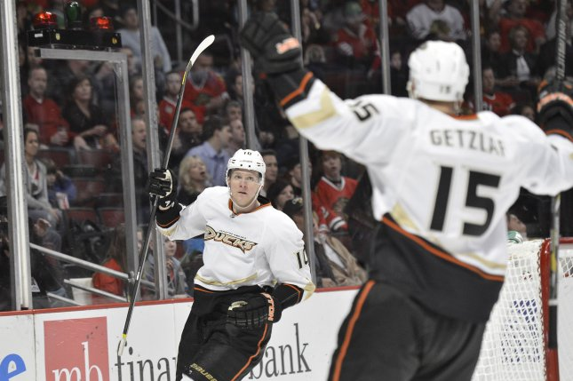 Anaheim Ducks right wing Corey Perry (L) had two goals and an assist to lead the Anaheim Ducks to a 5-2 win over the Buffalo Sabres on Thursday night. File Photo by Brian Kersey/UPI