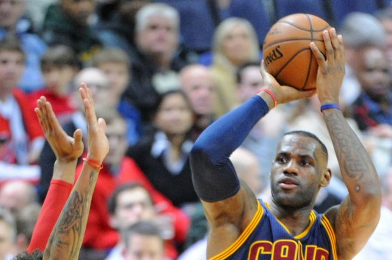 Cleveland Cavaliers forward LeBron James (23) shoots and scores. File photo by Mark Goldman/UPI