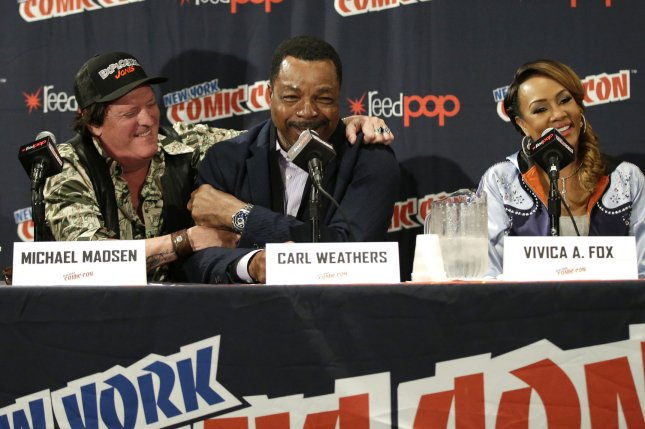 Michael Madsen, Carl Weathers and Vivica A. Fox and the cast behind El Rey's upcoming animated series Explosion Jones discuss the show and their roles at New York Comic Con on October 5 in New York City. Photo by John Angelillo/UPI