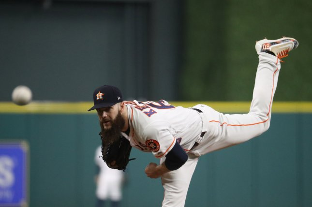 Dallas Keuchel and the Houston Astros face the Texas Rangers on Tuesday. Photo by Thomas. B Shea/UPI