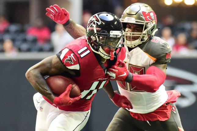 Atlanta Falcons receiver Julio Jones (11) makes a reception in front of Tampa Bay Buccaneers linebacker Kwon Alexander during their game October 14, 2018. Photo by David Tulis/UPI