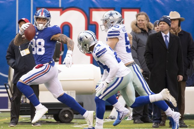 New York Giants tight end Evan Engram (88) is expected to miss Sunday's game against the Jets with what the team called a mid-foot sprain. File Photo by Chris Szagola/UPI