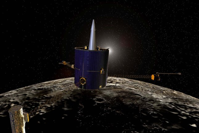 The Lunar Prospector spacecraft, seen here in an artist's rendering released by NASA, ploughed into a crater in the south pole of the moon in an attempt to stir up lunar soil in search of water. File Image courtesy of NASA