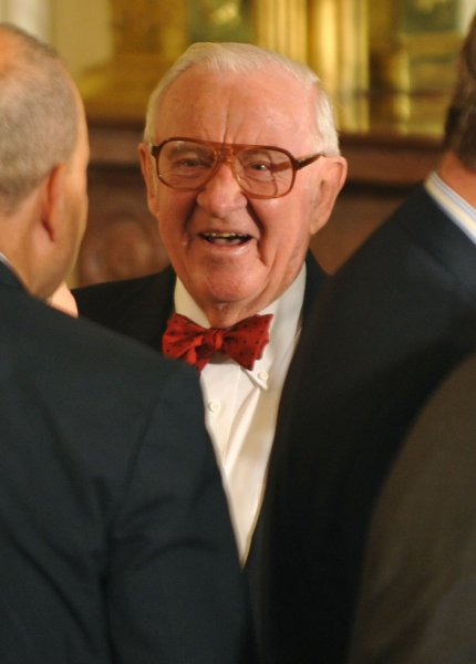 Supreme Court Justice John Paul Stevens attends a welcoming ceremony for Supreme Court Justice Sonia Sotomayor at the White House in Washington on August 12, 2009. UPI/Kevin Dietsch