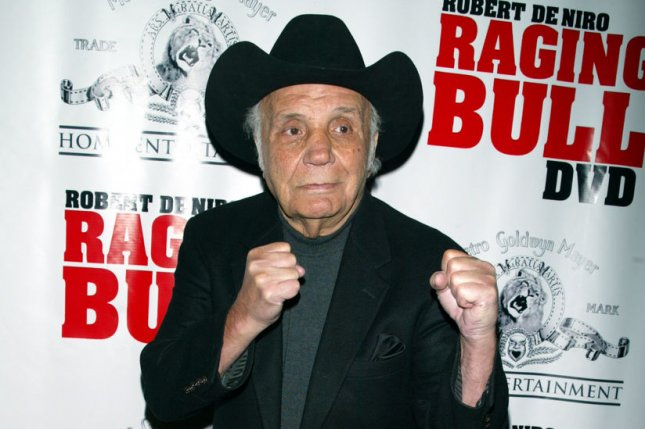 Jake LaMotta attends the 25th anniversary premiere of Raging Bull in New York on January 27, 2005. File Photo by Laura Cavanaugh/UPI