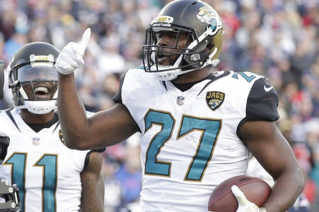 Jacksonville Jaguars running back Leonard Fournettte (27) has appeared in just six games this season due to injuries and a suspension. Photo by John Angelillo/ UPI
