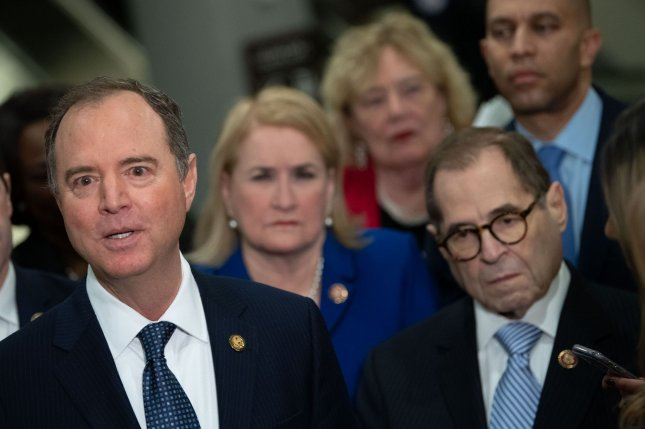 House impeachment manager Rep. Adam Schiff is joined Wednesday by other Democratic managers as he speaks to reporters at the U.S. Capitol about President Donald Trump's impeachment trial. Photo by Kevin Dietsch/UPI